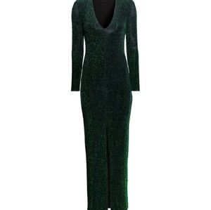 H&M Green Glittery Jersey V-neck Maxi Dress